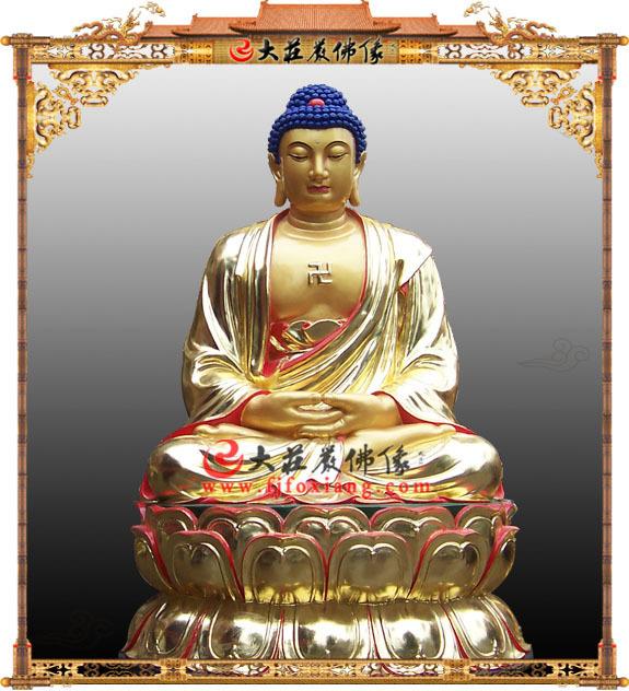 铜雕贴金佛像-释迦牟尼禅定相-铜佛像
