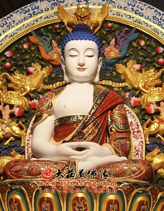 彩绘描金五方佛之毗卢遮那佛