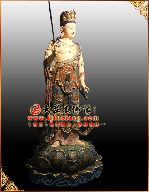 彩绘描金八大菩萨之普贤菩萨塑像