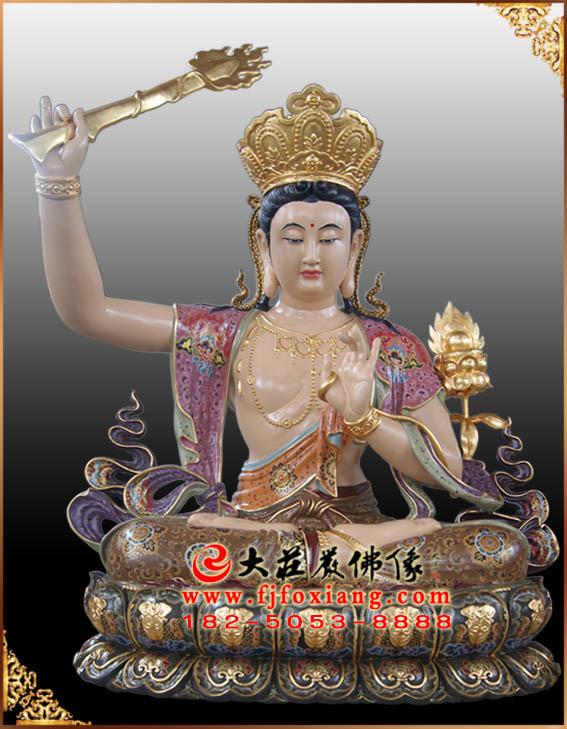 彩绘描金文殊菩萨手持慧剑坐莲塑像