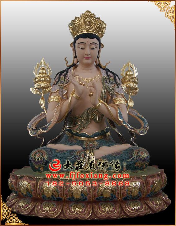 彩绘描金无垢文殊菩萨铜雕塑像