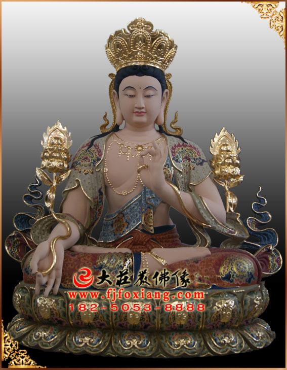 彩绘描金智慧文殊菩萨铜雕塑像