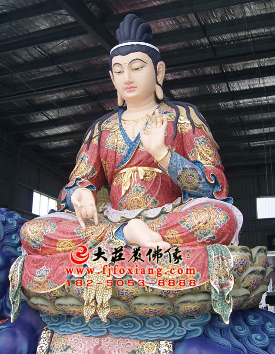 文殊菩萨坐青狮彩绘塑像