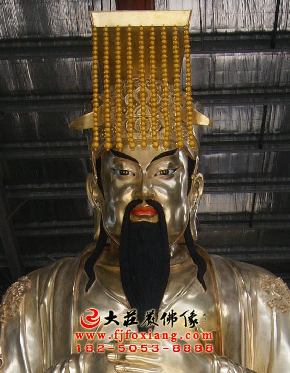 玉皇大帝鎏金铜雕彩绘塑像