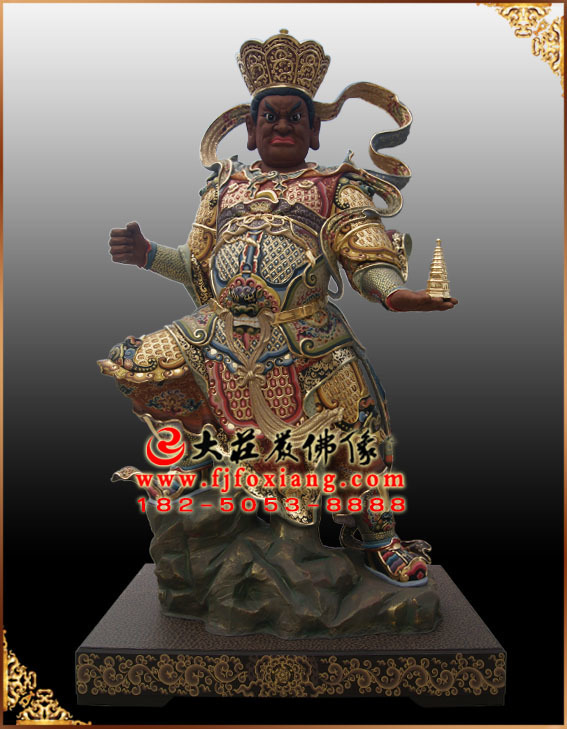 四大天王——北多闻天王彩绘塑像