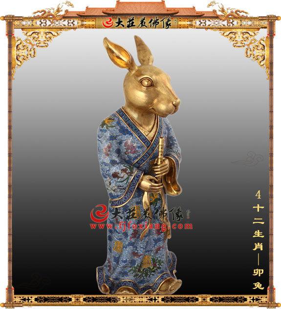 十二生肖地支之卯兔脱胎彩绘