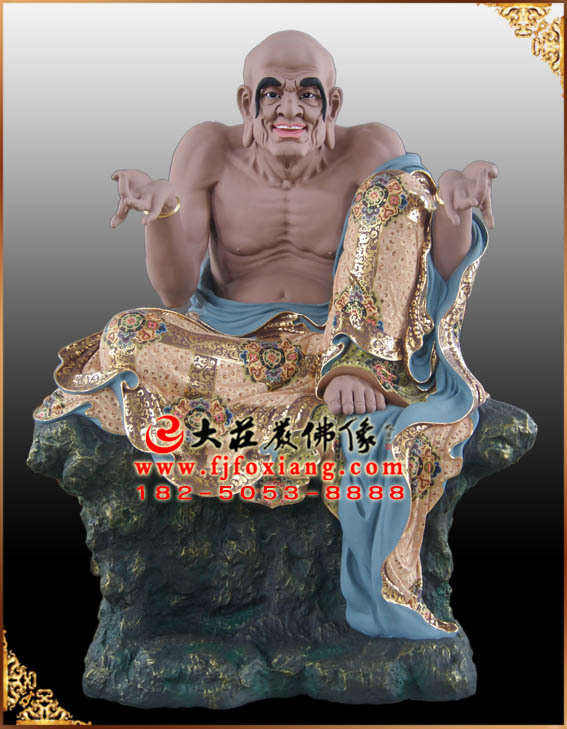 彩绘描金迦理迦尊者塑像