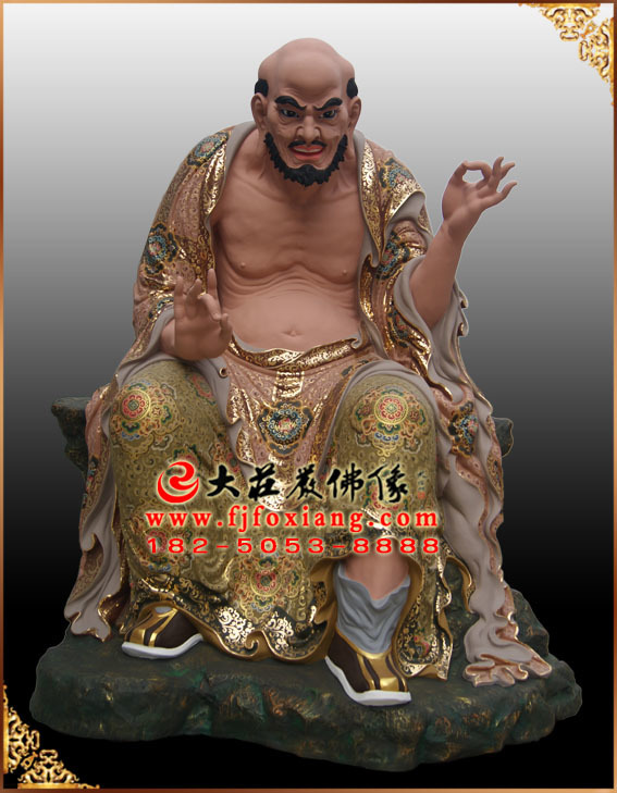 彩绘描金宾度罗跋罗堕阁尊者塑像
