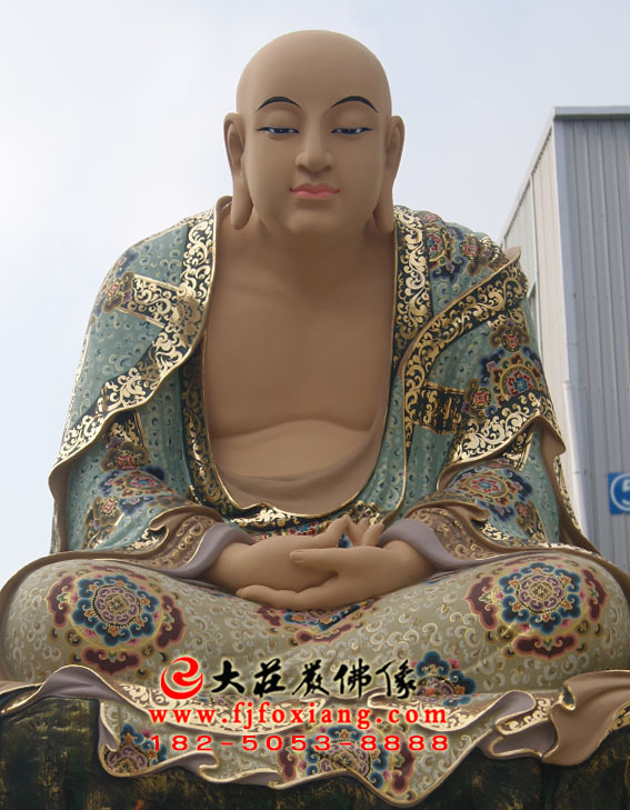 彩绘描金迦叶尊者塑像