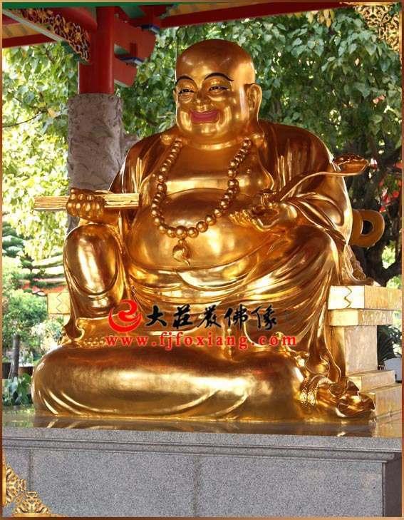 铜雕弥勒佛贴金侧面整体佛像