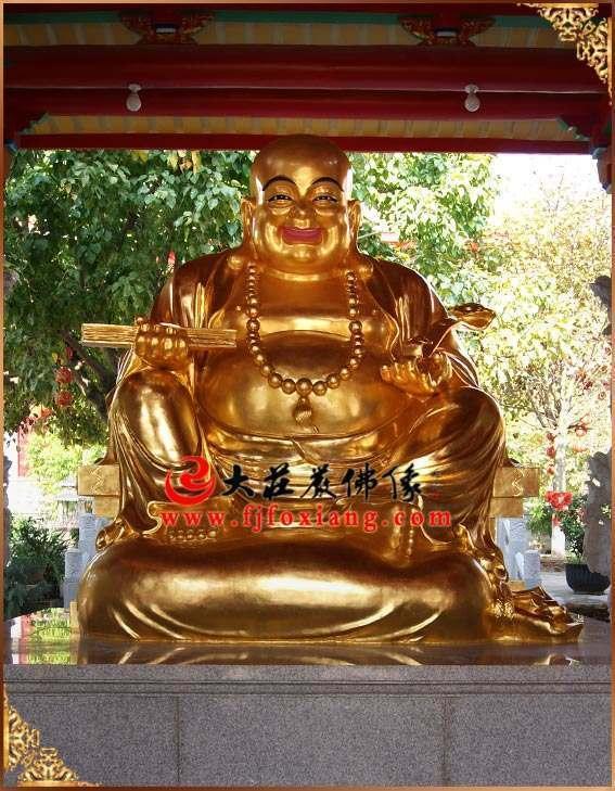 铜雕弥勒佛贴金整体佛像