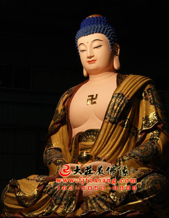 彩绘描金释迦牟尼佛塑像