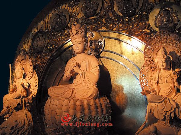 华严三圣,释迦三尊,木雕佛像