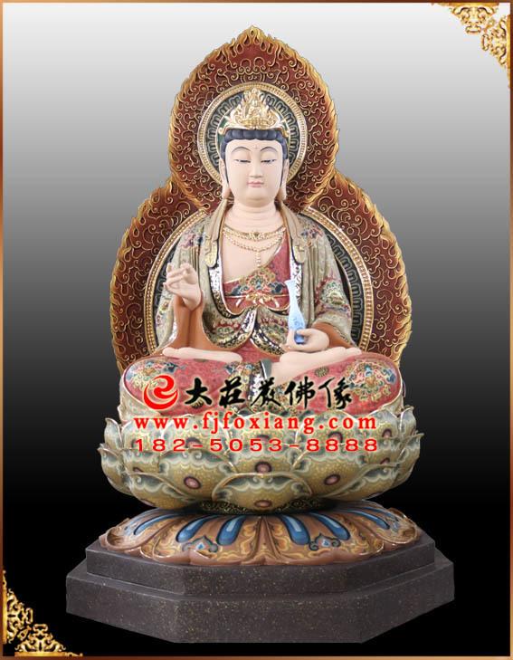 西方三圣之观音菩萨彩绘塑像