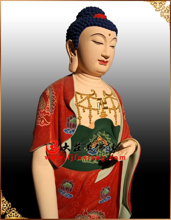 西方三圣之阿弥陀佛(铜雕彩绘)