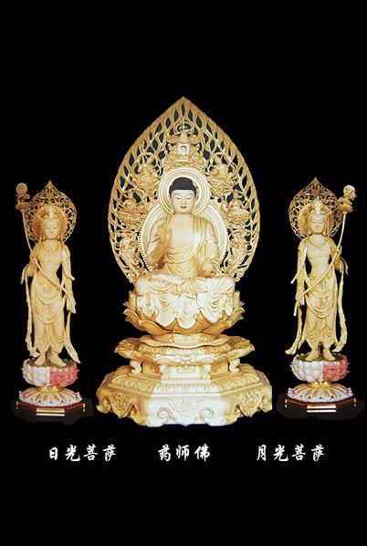 东方三圣木雕
