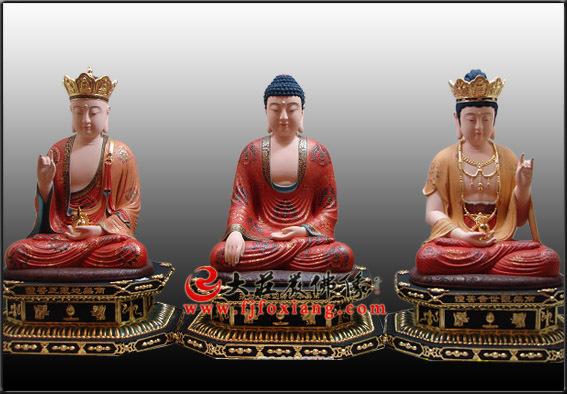 娑婆三圣铜雕极彩