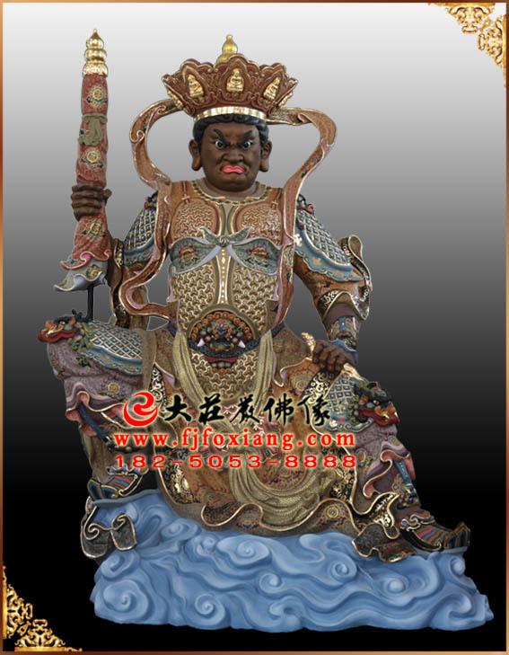 北方多闻天王彩绘塑像