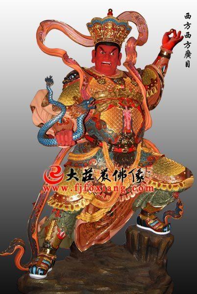 铜雕彩绘四大天王之西方广目