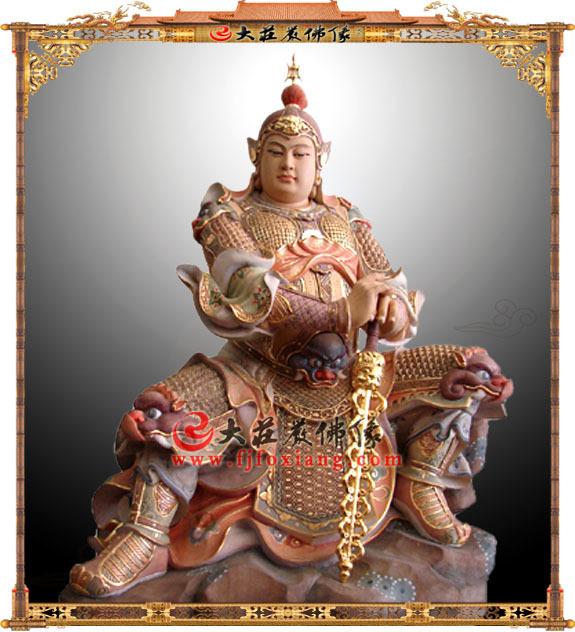 韦陀护法神木雕淡彩