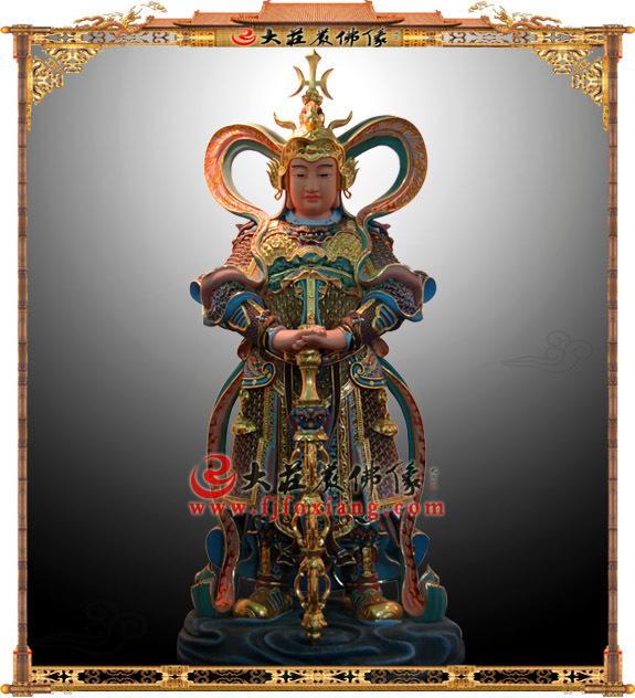 韦陀护法神泥塑彩绘金佛像