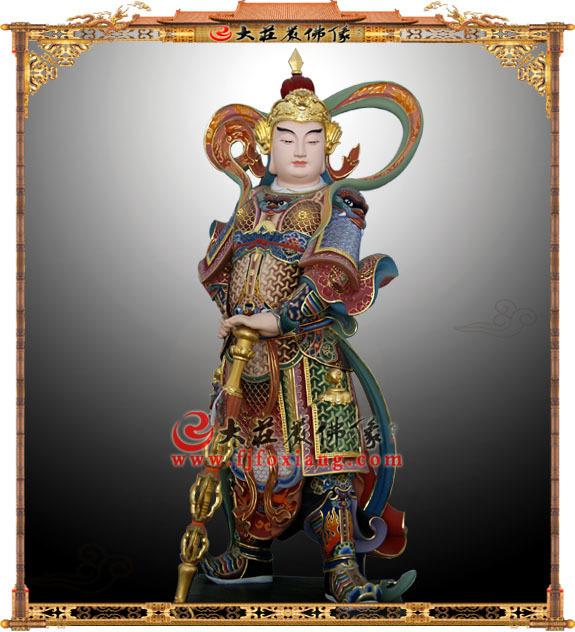 韦驮护法神铜雕彩绘像