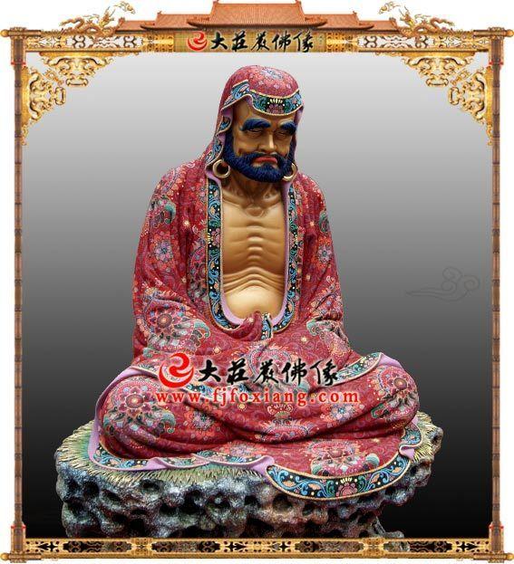 达摩祖师爷铜雕极彩像