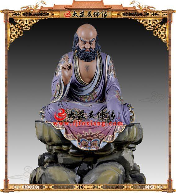 达摩祖师铜雕彩绘像