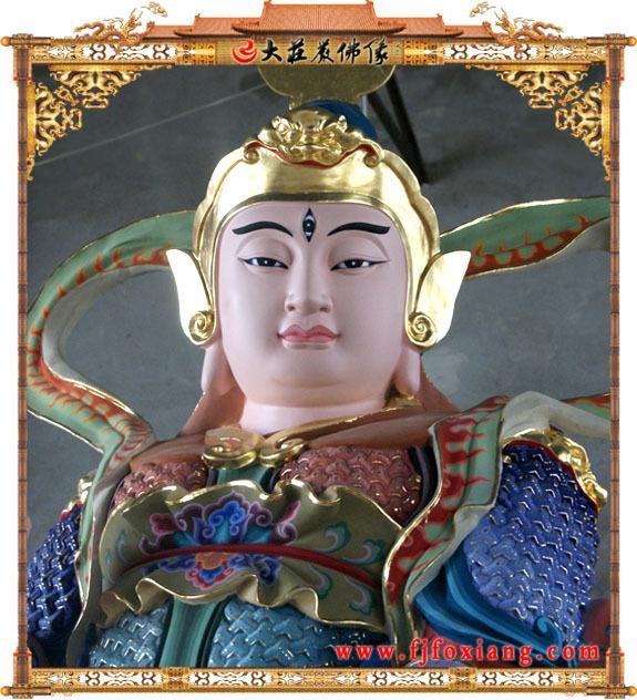 二郎神铜雕彩绘像