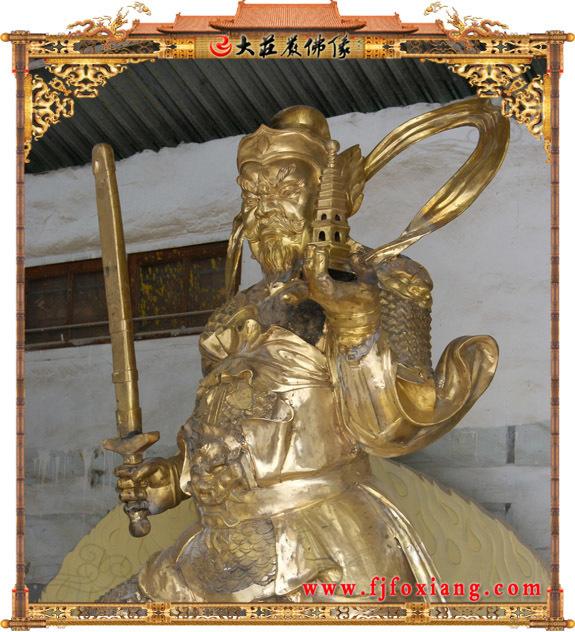 托塔李天王铜雕彩绘