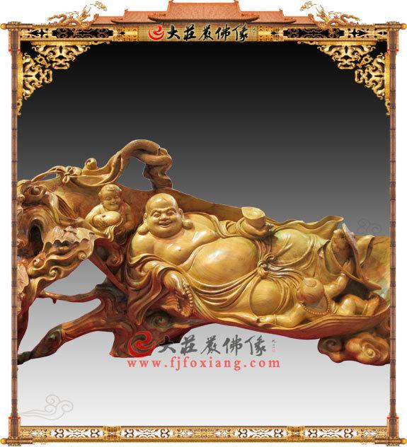 五子双子戏弥勒-黄杨木雕.