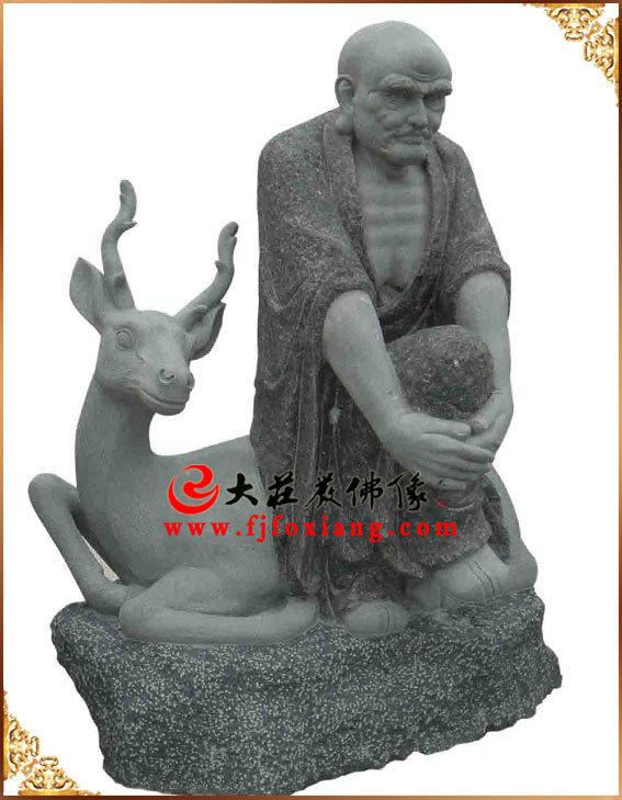 石雕十八罗汉之坐鹿罗汉