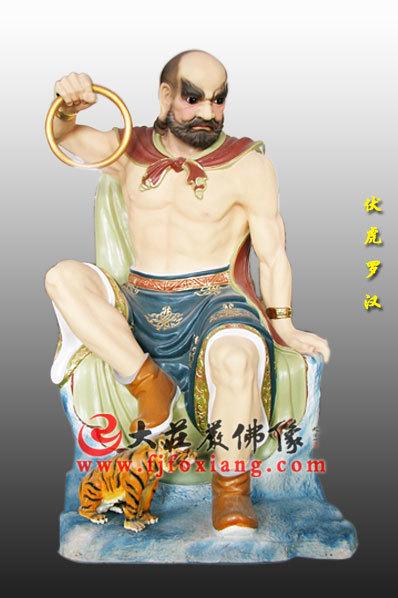 木雕彩绘十八罗汉之伏虎罗汉