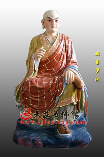 木雕彩绘十八罗汉之欢喜罗汉
