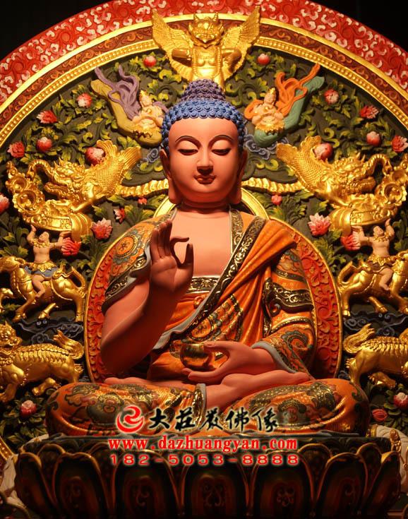 五方佛之西方阿弥陀佛生漆脱胎彩绘佛像正面近照