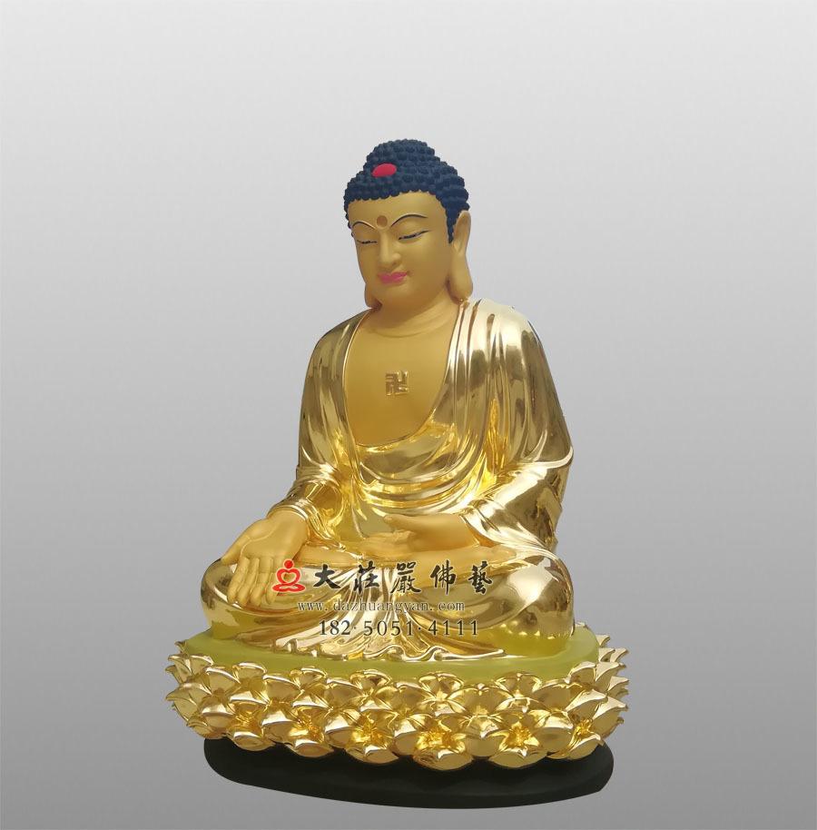 铜雕贴金五方佛之南方宝生佛侧面佛像