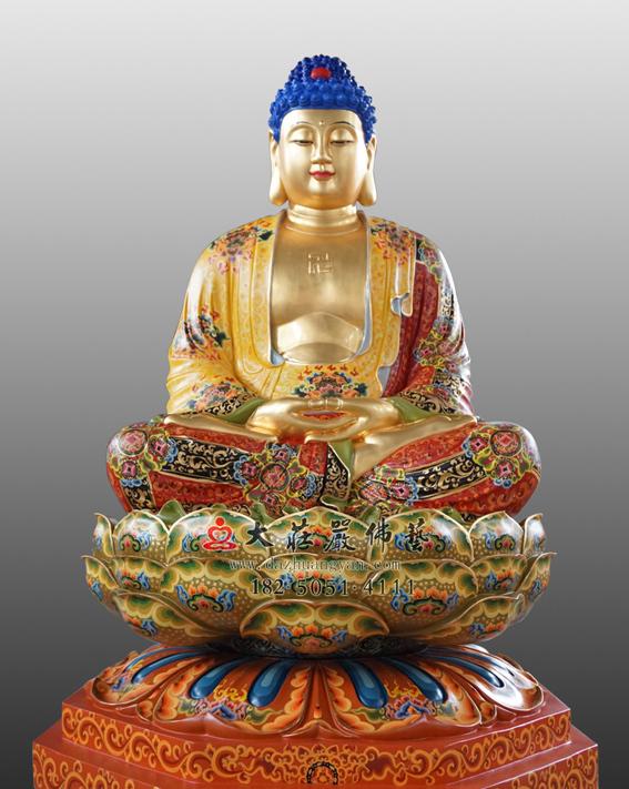 铜雕释迦牟尼佛彩绘贴金佛像