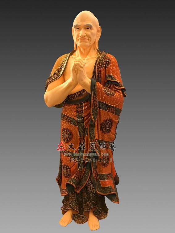 铜雕一佛二弟子之迦叶彩绘佛像