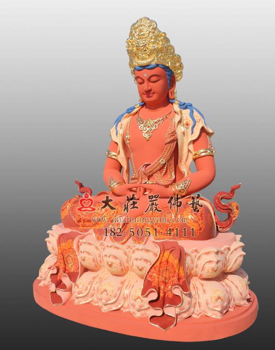 五方佛之阿弥陀佛彩绘贴金侧面佛像