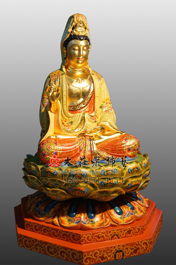 彩绘贴金观世音菩萨侧面佛像