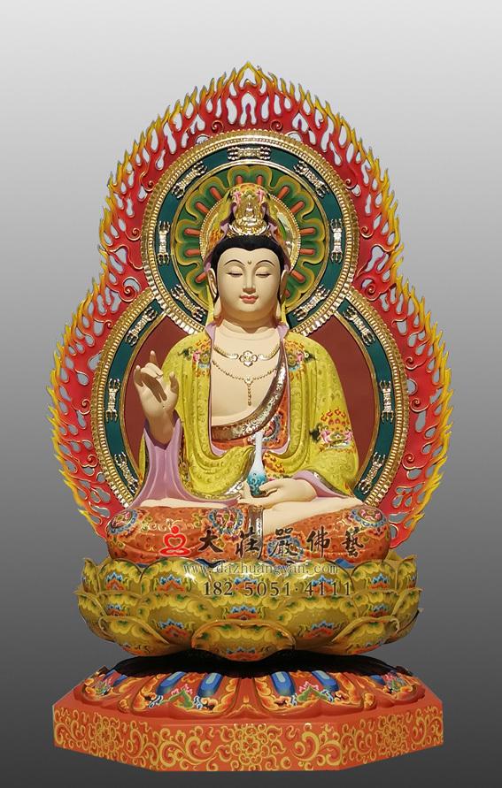 铜雕杨柳观音彩绘塑像