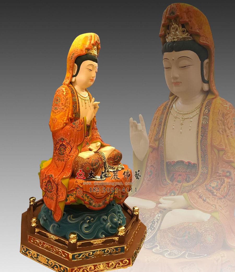 铜雕彩绘描金观世音菩萨侧面像