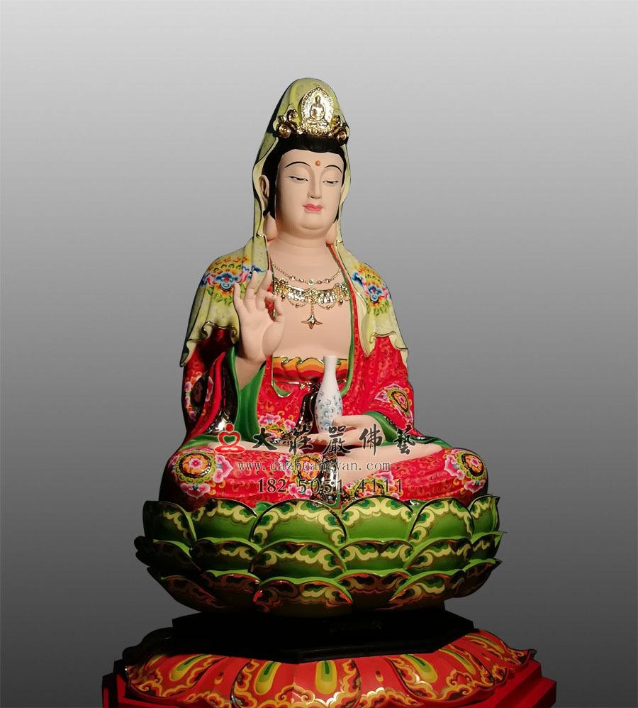 铜雕彩绘观世音菩萨侧面塑像