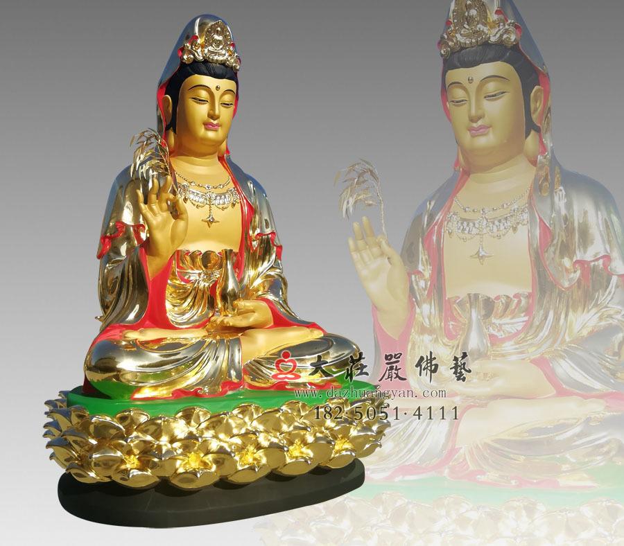 观音菩萨侧面彩绘贴金塑像