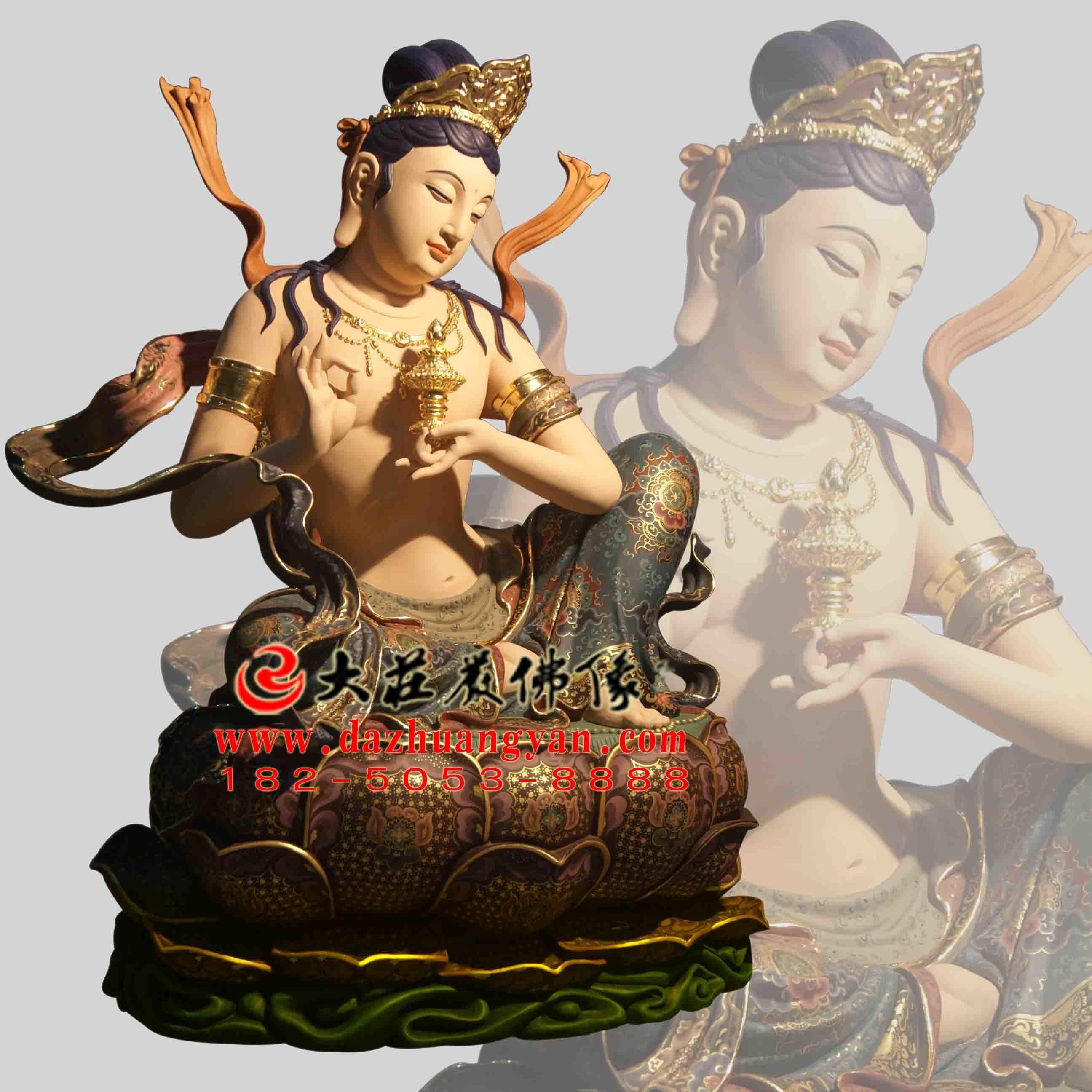 生漆脱胎供养菩萨彩绘佛像右侧像