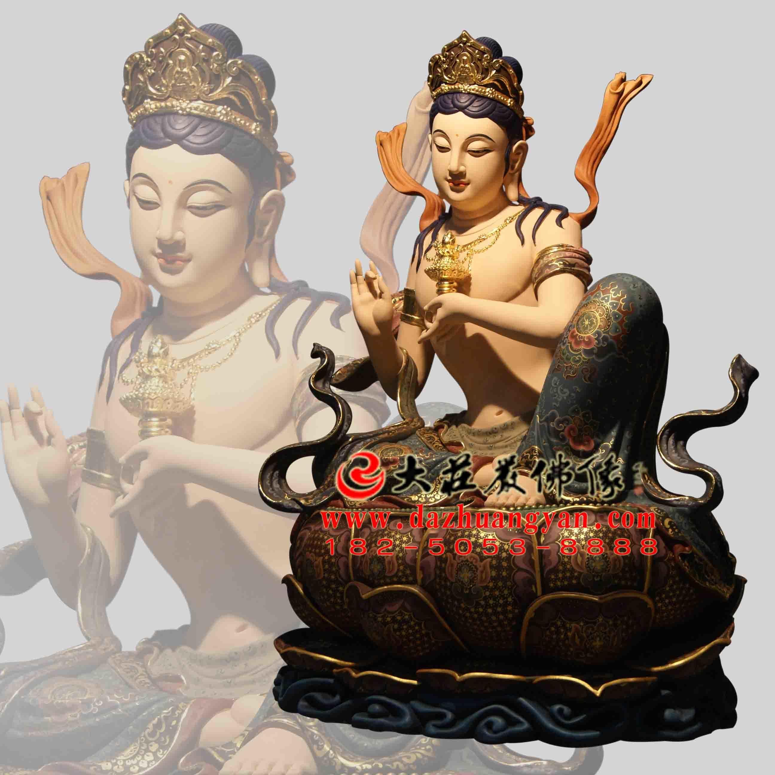 生漆脱胎供养菩萨彩绘佛像左侧像