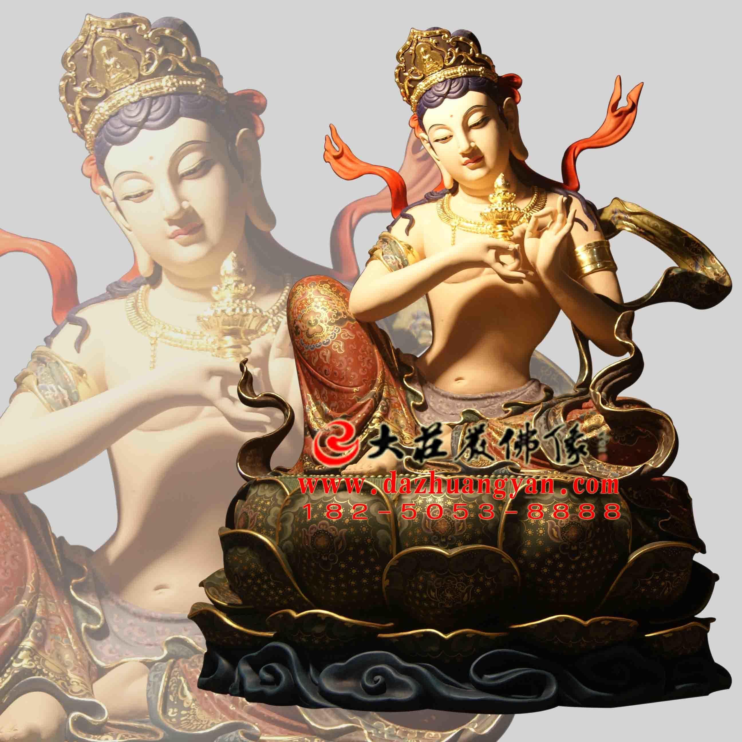 生漆脱胎供养菩萨彩绘佛像正面像