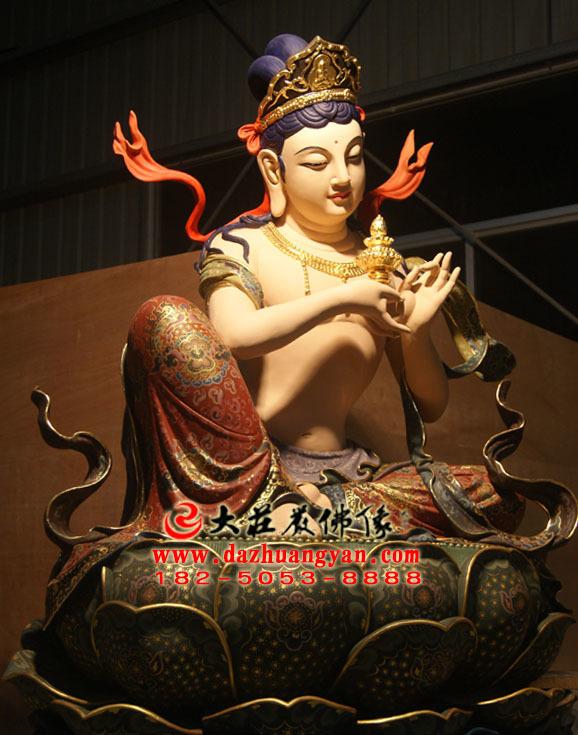 生漆脱胎供养菩萨彩绘佛像侧面照