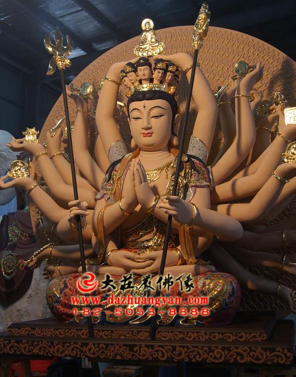 生漆脱胎千手观音彩绘佛像左侧照