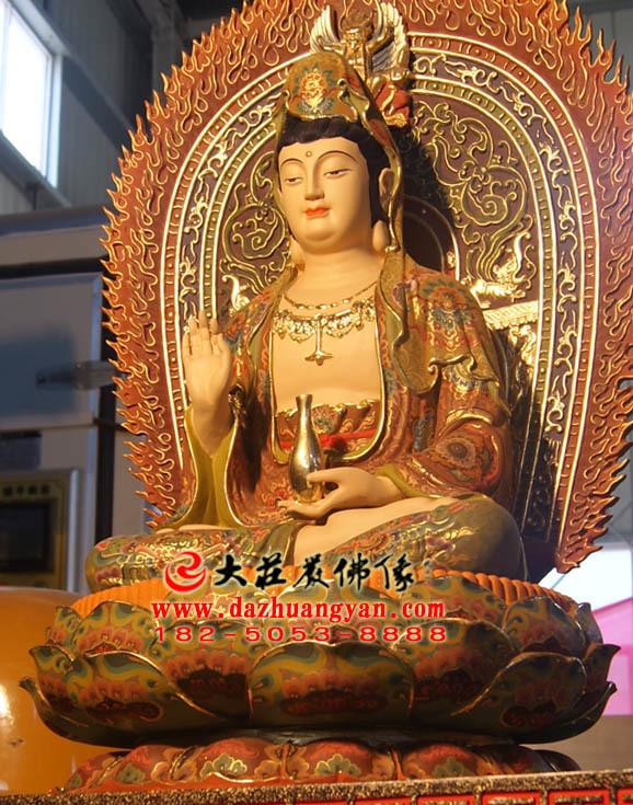 观世音菩萨铜雕彩绘佛像左侧照